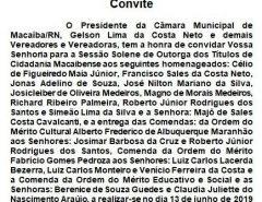Convite: Sessão Solene de Outorga de Títulos de Cidadania Macaibense