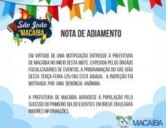 Macaíba: Programação do São João desta noite de terça-feira (25) está adiada