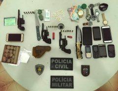 Operação Conjunta detém 07 pessoas com armas, drogas e dinheiro em Nova Cruz/RN PM