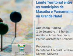 Assembleia Legislativa debate limite territorial entre Parnamirim e Macaíba