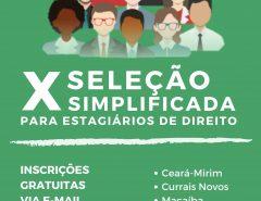 Defensoria abre inscrições de seleção simplificada de estagiários do curso de direito