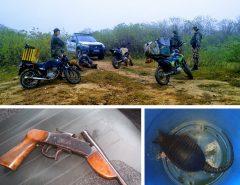 PM prende caçadores, apreende animais e recupera moto roubada no interior do RN