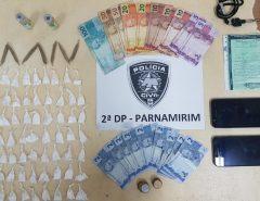 Polícia Civil prende casal por tráfico de drogas em Parnamirim; 56 porções de cocaína e porções de maconha