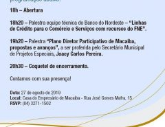 Convite: Seminário Técnico Empresarial acontece nesta terça-feira (27) na Casa do Empresário de Macaíba