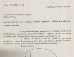 Convite: Audiência sobre Segurança Pública em Macaíba acontece nesta sexta-feira (13)