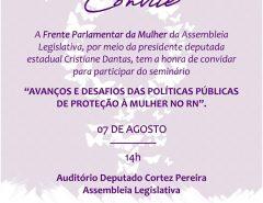 Seminário marcará mês de proteção à mulher na Assembleia Legislativa