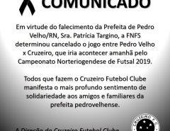 Comunicado: jogo do Cruzeiro de Macaíba no Norteriograndense de Futsal é cancelado
