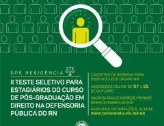 Defensoria Pública do RN abre inscrições do II Teste Seletivo para Residência em Direito