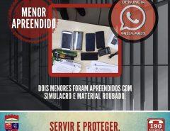 Dois menores são apreendidos com simulacro e material roubado em Macaíba