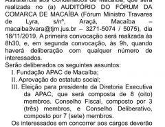 Publicado edital de convocação para Assembleia Geral de Fundação da APAC de Macaíba
