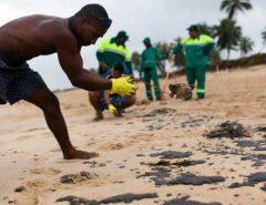 Limpeza de óleo em praias do Nordeste deixa voluntários doentes