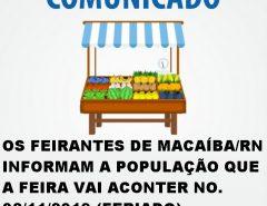 Comunicado: Feira livre de Macaíba