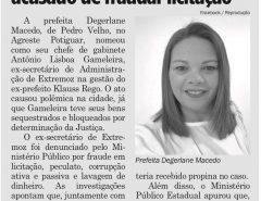 Jornal repercute nomeação de chefe de gabinete da prefeita de Pedro Velho que vem dando o que falar