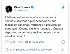 """Ciro responde a Carlos: """"Seremos o pior pesadelo de sua família de canalhas e milicianos"""""""
