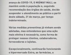 Midway Mall anuncia suspensão de atendimento ao público a partir deste sábado por tempo indeterminado em prevenção ao coronavírus