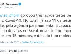 Bolsonaro anuncia que Anvisa aprovou novos testes para covid-19