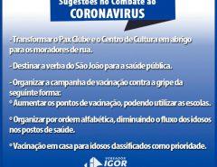 Vereador Igor Targino apresenta sugestões no combate ao coronavirus