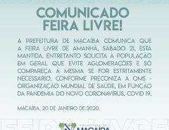 Comunicado feira livre de Macaíba