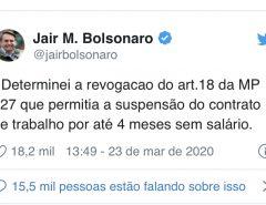 Bolsonaro diz que não haverá suspensão do contrato de trabalho