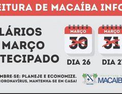 Informe Publicitário: Prefeitura de Macaíba antecipa salários, mas alerta sobre situação futura