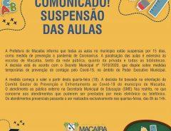Macaíba: Aulas suspensas por 15 dias!