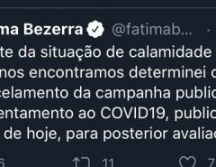 Fátima Bezerra anuncia cancelamento de campanha publicitária no valor de R$ 3 milhões para o enfrentamento ao COVID-19