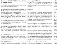 Câmara de Macaíba suspende atividades por 15 dias por causa do coronavírus