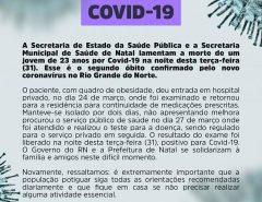 Jovem de 23 anos é o segundo óbito por Covid-19 no RN