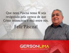 Mensagem de Páscoa de Gerson Lima, Presidente da Câmara de Vereadores de Macaíba