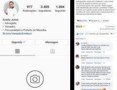 Perfil do vereador Emídio Jr. no Instagram é alvo de ataque