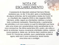 Nota de esclarecimento da Assessoria do deputado Hermano Morais
