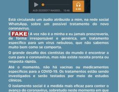 É fake áudio atribuído ao deputado estadual Getúlio Rêgo na rede social WhatsApp, sobre um possível tratamento do novo coronavírus