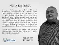 Prefeitura de Macaíba emite nota de pesar pelo falecimento do vereador Gelson Lima