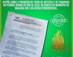 Projeto de Lei do vereador Igor Targino proíbe o uso de fogos de artifício e de fogueiras durante a pandemia do coronavírus