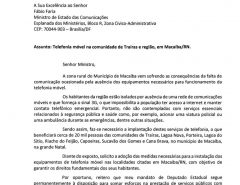 Deputado Coronel Azevedo solicita ao ministro Fábio Faria instalação de telefonia móvel para o distrito de Traíras e região