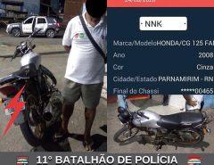 POLÍCIA MILITAR RECUPERA MOTO COM QUEIXA DE ROUBO EM MACAÍBA