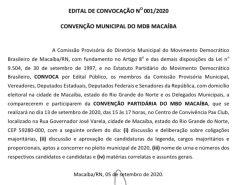 Convenção do partido MDB Macaíba