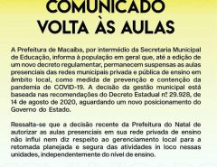 Macaíba: Comunicado volta às aulas