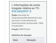 Canguaretama: Wellinson Ribeiro aparece na lista de contas reprovadas pelo TCU