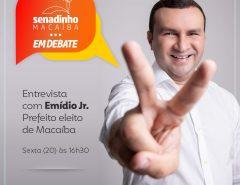 Exclusivo: Senadinho em Debate entrevista prefeito eleito Emídio Jr. nesta sexta (20)