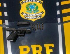 Em Macaíba a PRF prende homem e recupera pistola da Guarda Municipal de Natal