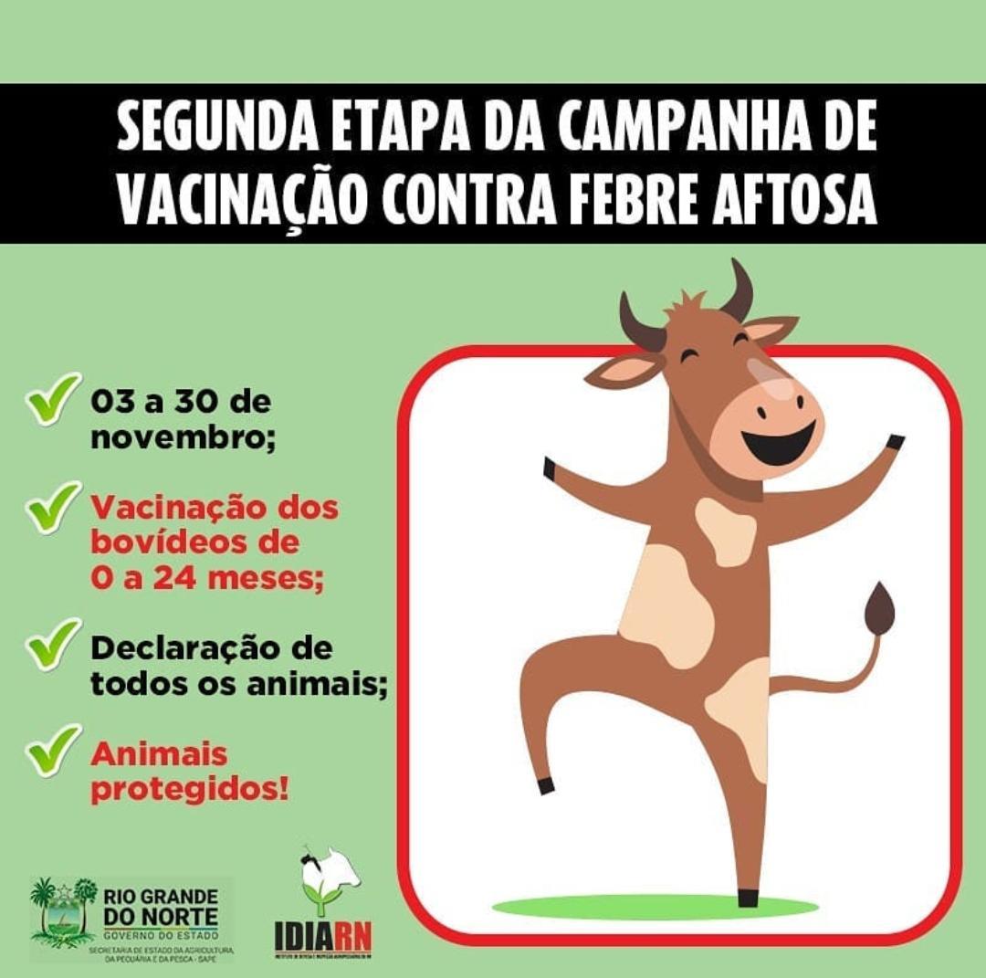 Secretaria Municipal de Agricultura de Macaíba alerta aos criadores de bovinos sobre o início da 2ª etapa da campanha de vacinação contra aftosa
