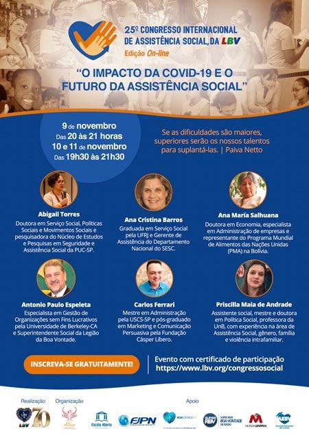 """""""O impacto da Covid-19 e o futuro da Assistência Social"""" tema de congresso online promovido pela LBV"""