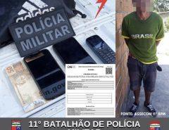 Policiais militares do 11° BPM prendem criminoso e recuperam objetos roubados em Macaíba