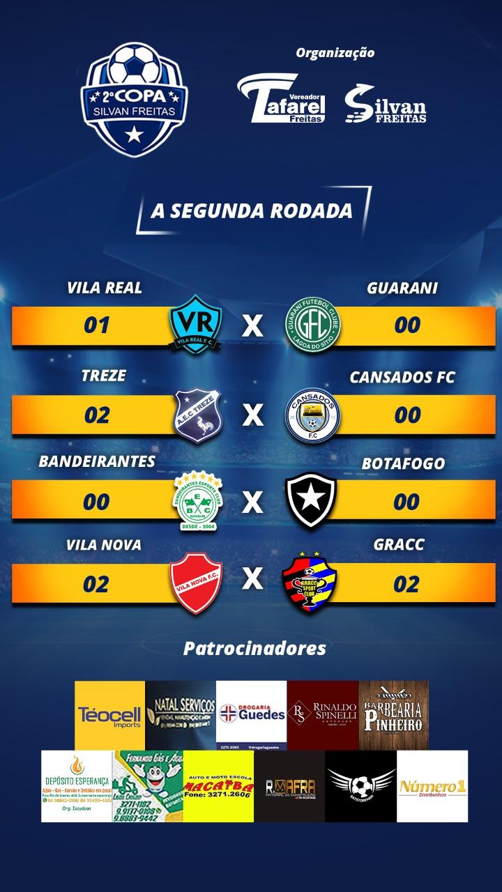 Resultados da segunda rodada da Copa Silvan Freitas e próximos confrontos