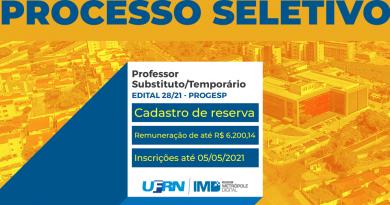 UFRN abre inscrições de processo seletivo para professor substituto