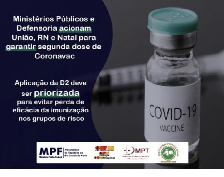 Ministérios Públicos e Defensoria acionam União, RN e Natal para garantir segunda dose de Coronavac