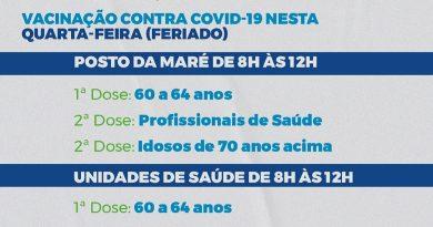 Macaíba: vai ter vacinação contra a COVID-19 neste feriado de Tiradentes