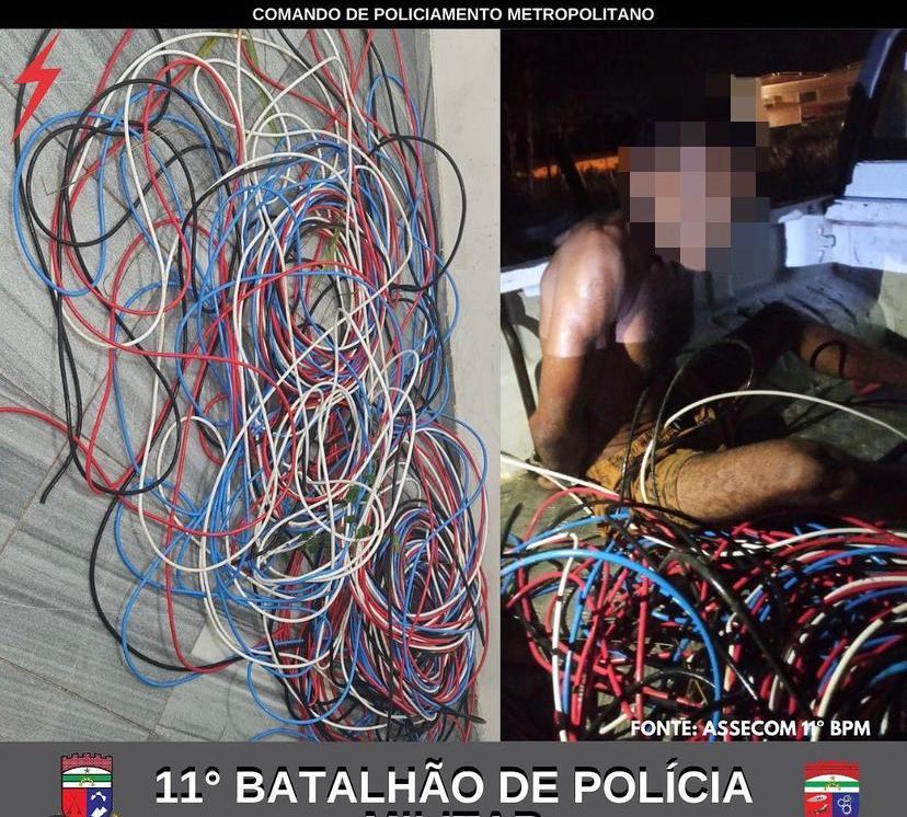 Polícia Militar detém homem suspeito de furtar cabos de rede elétrica em Macaíba