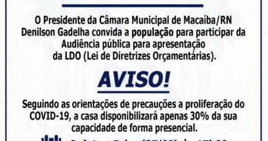 Convite: audiência pública  para apresentação da LDO